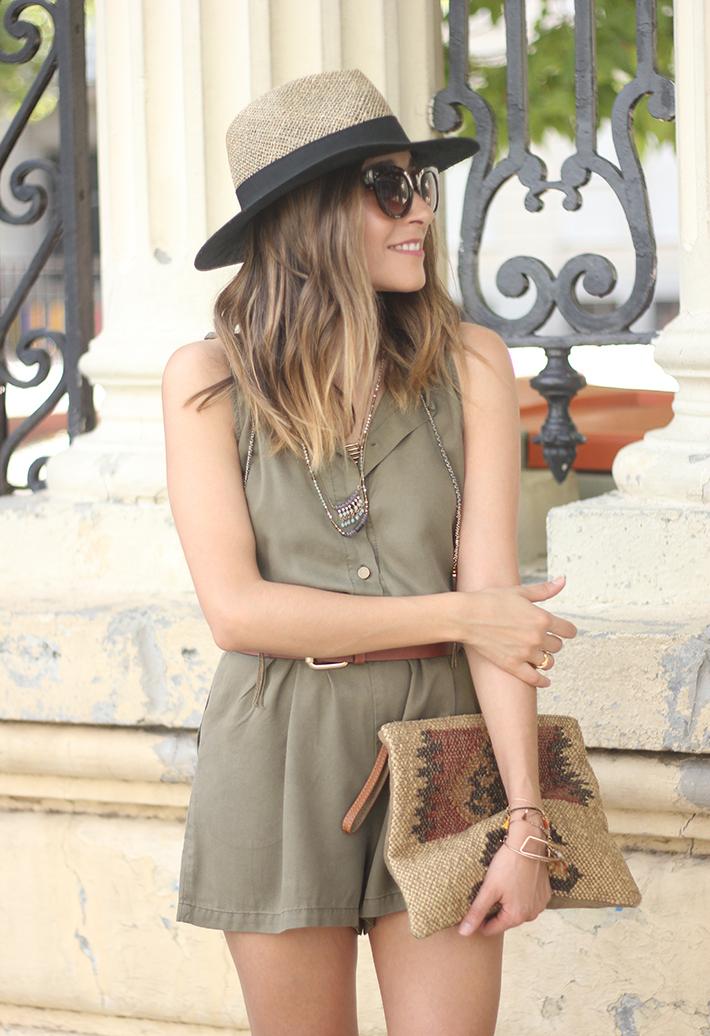 Khaki Jumpsuit Hat Clutch Summer Outfit 09