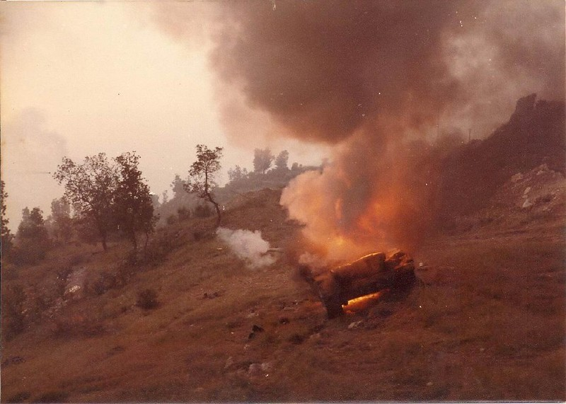 A Syrian Tank burning on Tzuk Track, 1982 Lebanon War