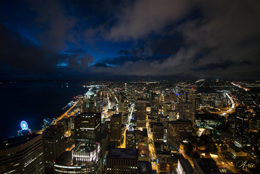 Seattle Skyline on a stormy night