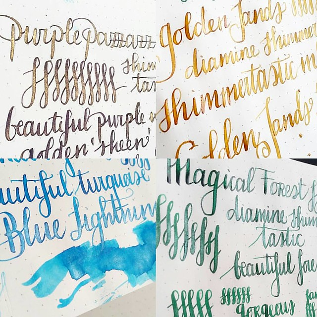 Shimmering inks: purple pazzazz, golden sands, blue lightning and magical forest. So shiny!! @bureaudirect @mishka5050 #diamine #shimmertastic #shimmeringink #fpgeeks #fountainpenink #FPN #fountainpennetwork
