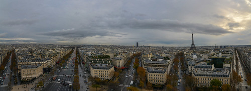 Panorama of Champs-Élysées and other avenues radiating off the Arc de Triomphe (France)