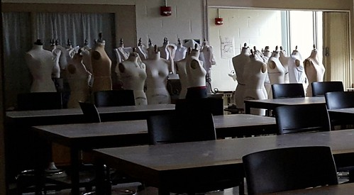 Empty classroom with mannequins