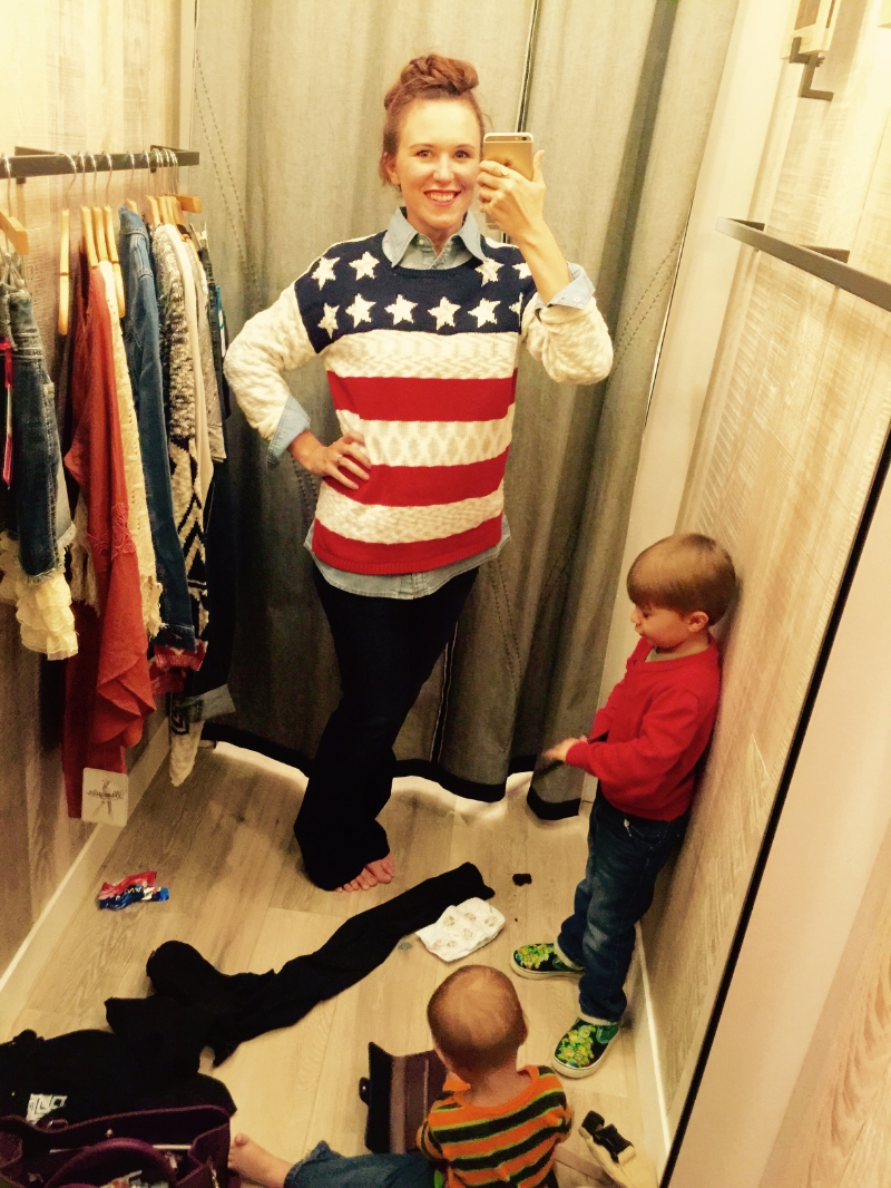 American flag sweater and wrangler Made in the USA jeans
