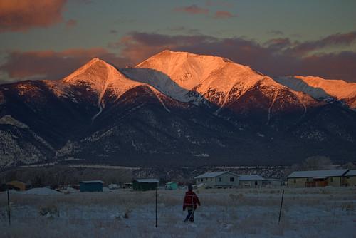mountain snow sunrise colorado