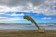 Storm warning, Mission Beach, San Diego
