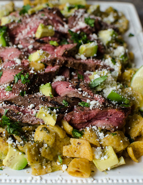 Coke-Marinated Flank Steak over Fritos Chilaquiles