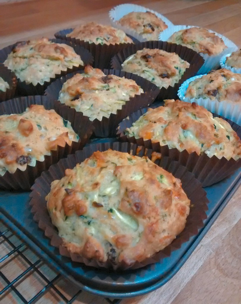 Savoury courgette muffins in tray