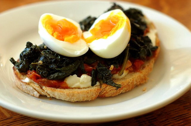 Braised kale, roasted tomato & egg sandwich by Eve Fox, the Garden of Eating, copyright 2015