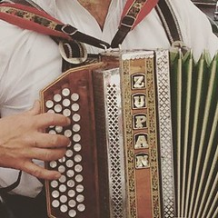 So we were quietly eating our speck and onion flammkuchen this evening when three guys in lederhosen came in with a double bass and two accordions and started playing and singing. They were excellent, even did a bit of yodelling.