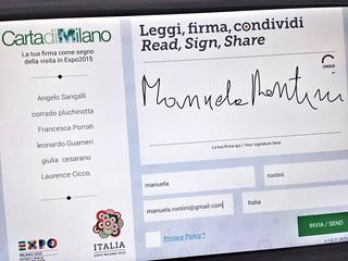 Ho firmato la Carta di Milano