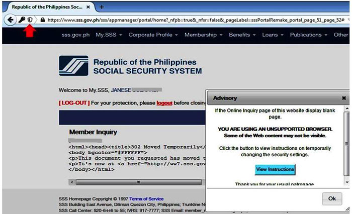 how to access SSS online using Mozilla Firefox