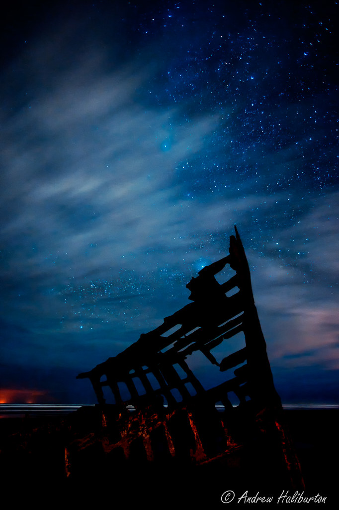 Wreck Of The Peter Iredale And Glow From Two Fishing Vesse