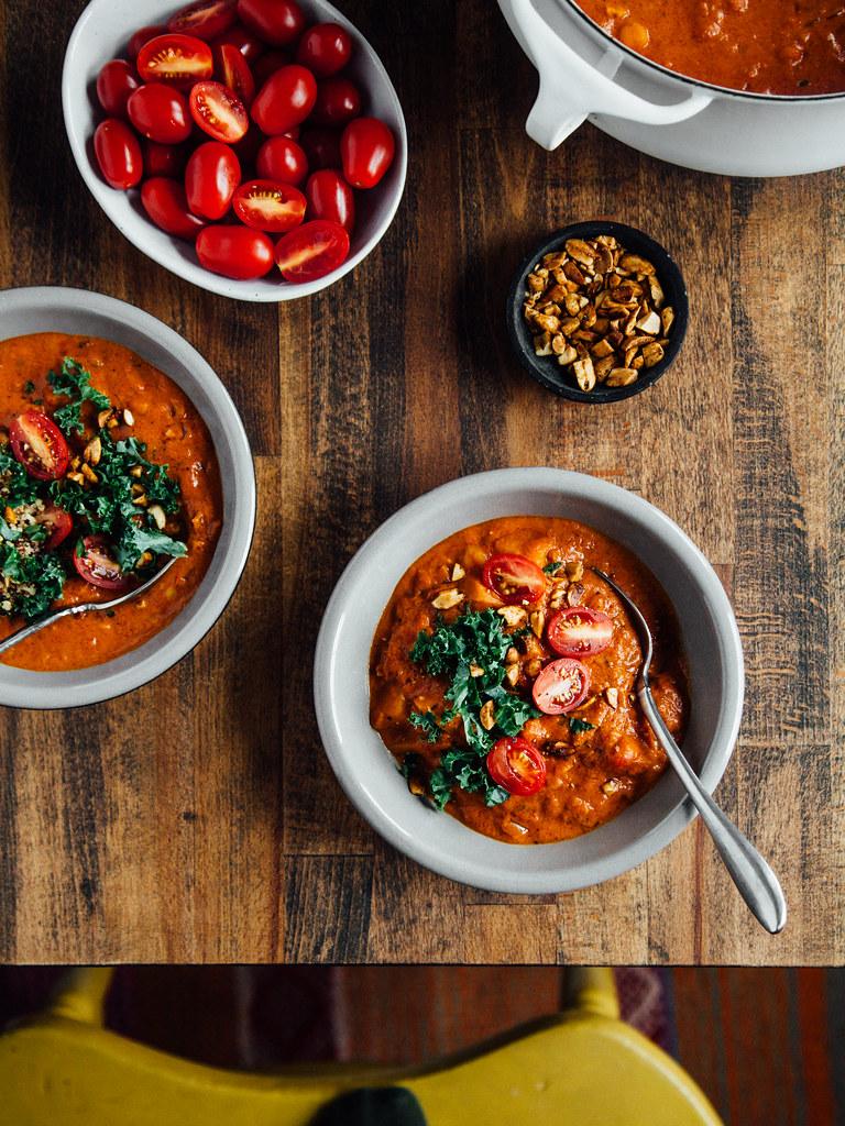 Spicy peanut stew with butternut squash + chickpeas