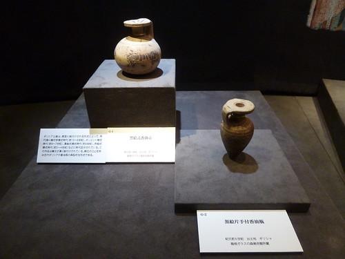 黒絵式香油壺と黒絵片手付香油瓶