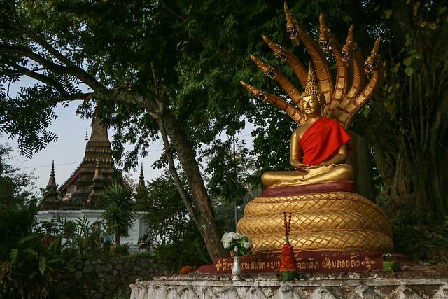 Buddha with Naga in Wat That Luang, Luang Prabang, Laos ルアンパバーン、ワット・タートルアンの仏像