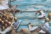 Christmas decoration on grunge wooden background