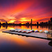 Surreal Boston Skyline Sunrise over Charles River Sailboat Dock from Cambridge Massachusetts USA by Greg DuBois - Sponsored by LEE Filters