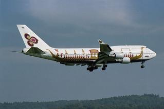 "Thai Airways International Boeing 747-4D7 HS-TGJ  ""Hariphunchai""  ""Royal Barge"" colors"