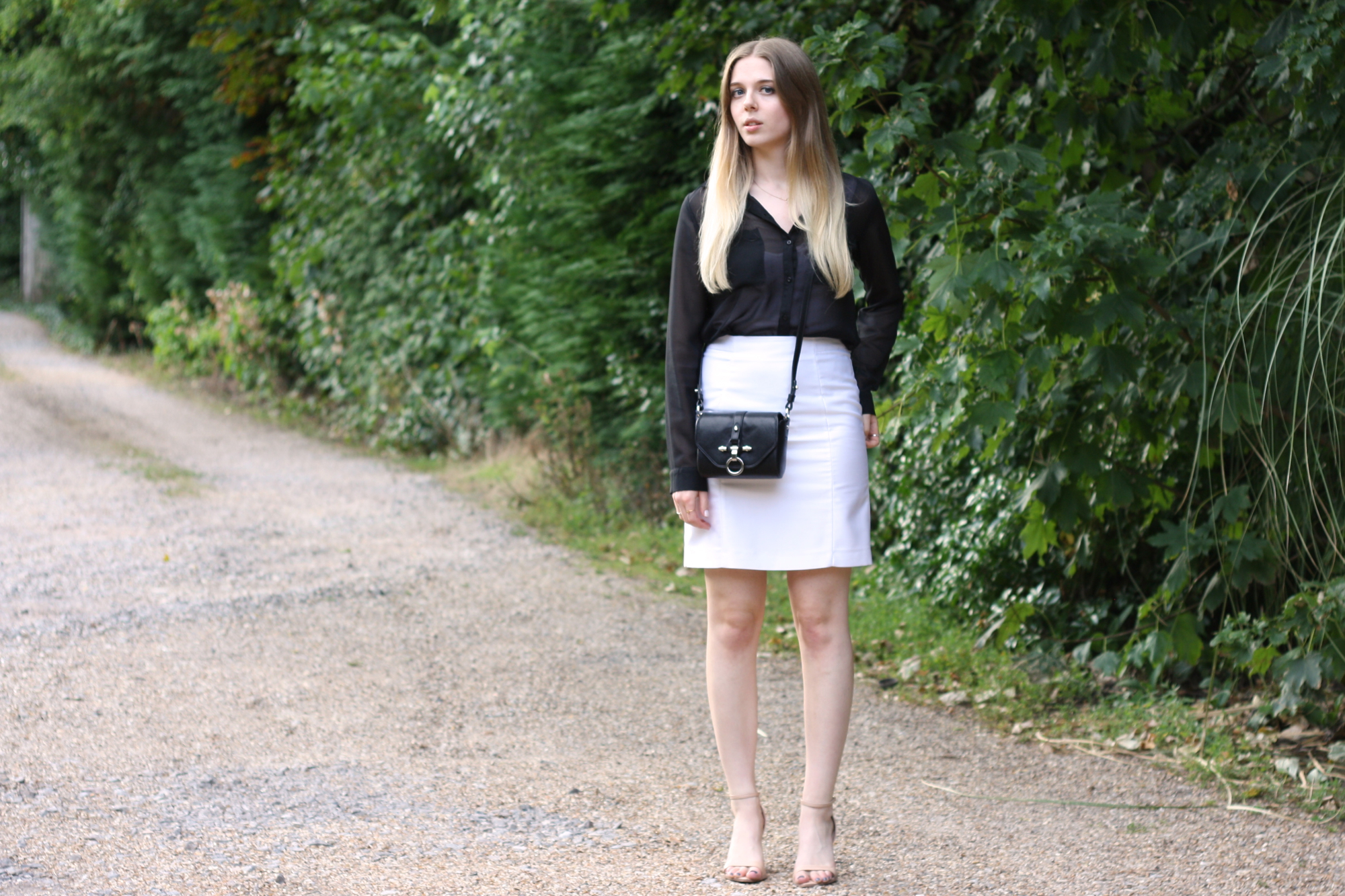 Topshop white zip skirt