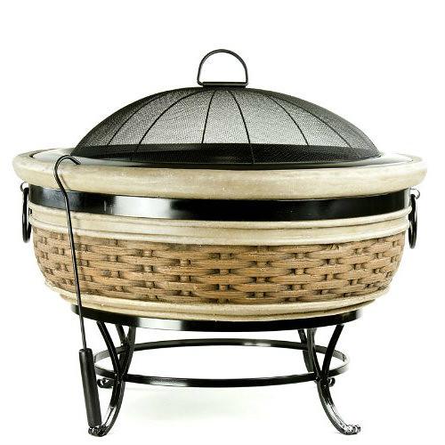 Wood Burning Outdoor Firepit Weatherproof Magnesia Rattan Wicker Patio