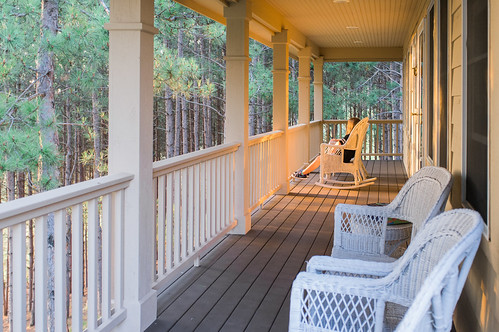 On the porch.