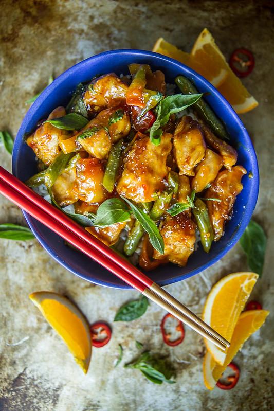 Spicy Ginger Orange Basil Chicken Bowl