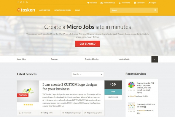 AppThemes Taskerr v1.3.1 – WordPress micro jobs theme