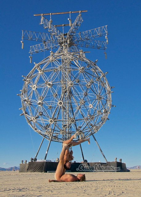 naturist acro-yoga gymnasium 0004 Burning Man 2015, Black Rock City, Nevada, USA