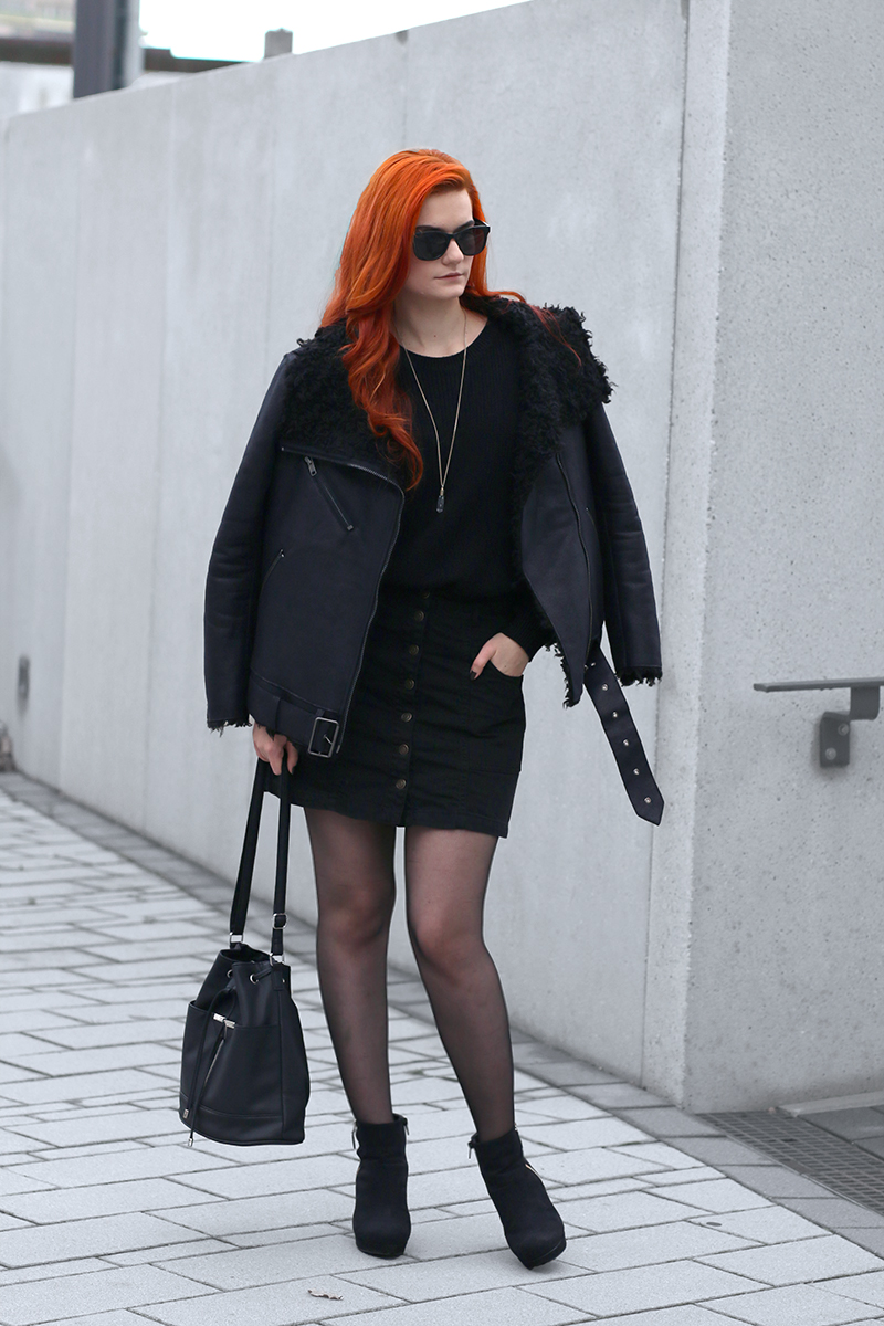 Black Shearlig Jacket and Button Down Mini Skirt