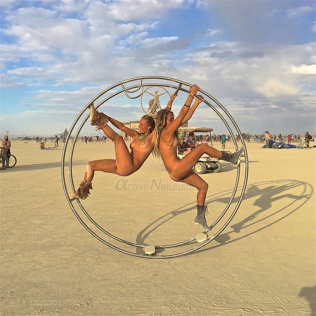 naturist gymnastics wheel camp Gymnasium 0001 Burning Man, Black Rock City, NV, USA