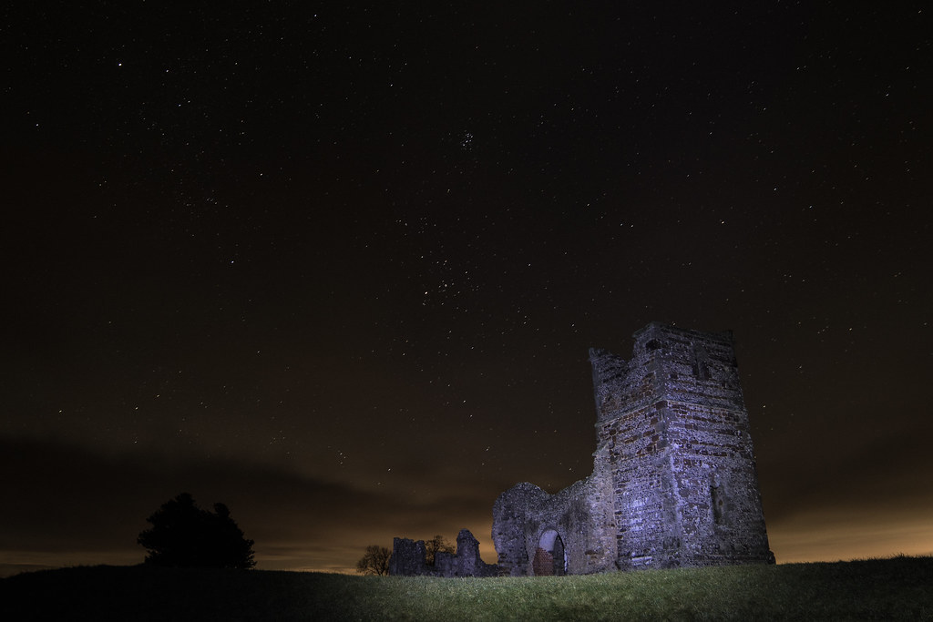 Knowlton Church night time - Click to show full size