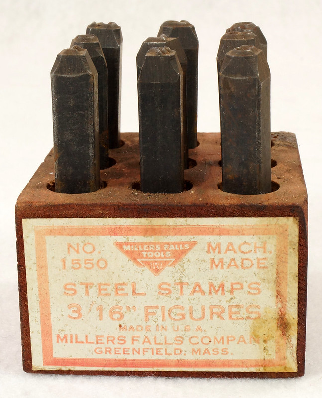 RD14695 Millers Falls 3-16th inch Figures Steel Number Punch Stamps Set No 1550 USA DSC06510