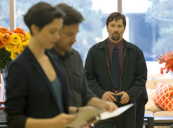 Joel Edgerton (R) gets a little stalkery with Jason Bateman and Rebecca Hall in THE GIFT.