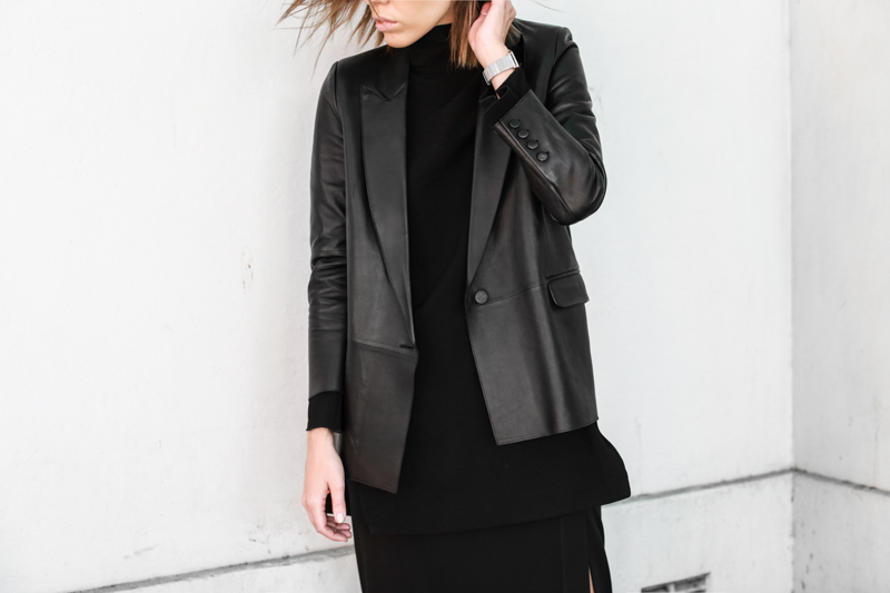 black leather blazer, Ellery top, details, all black street style, modern legacy, fashion blog (1 of 1)