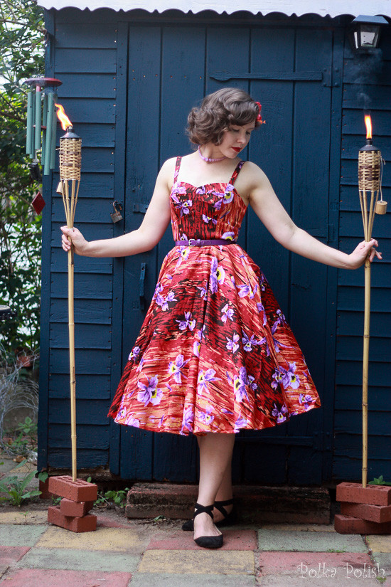 Red and purple Hawaiian Hideaway dress by Pin Up Girl Clothing