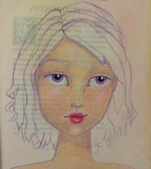 Tonight's #joynal girl warm up drawing! #janedavenportclass #JaneDavenport #facepractice #faces #coloredpencils #alteredbook