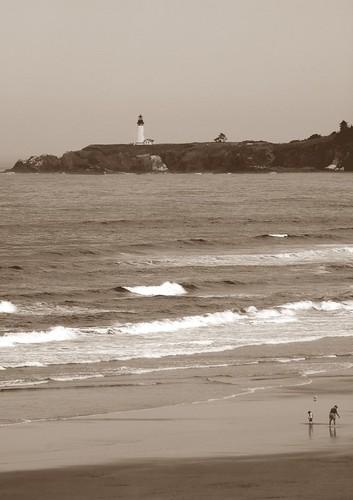 Yaquina Head Lighthouse from Nye Beach