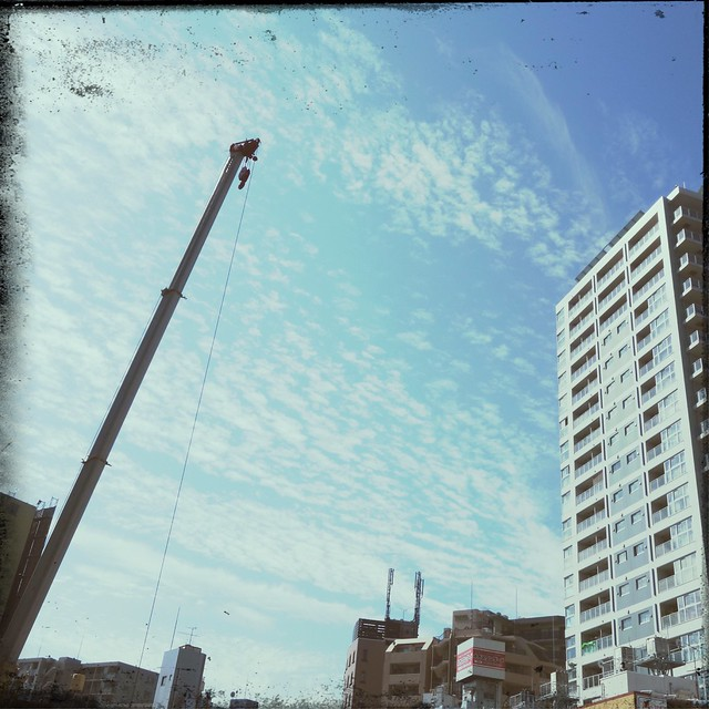 Mobile crane against sky