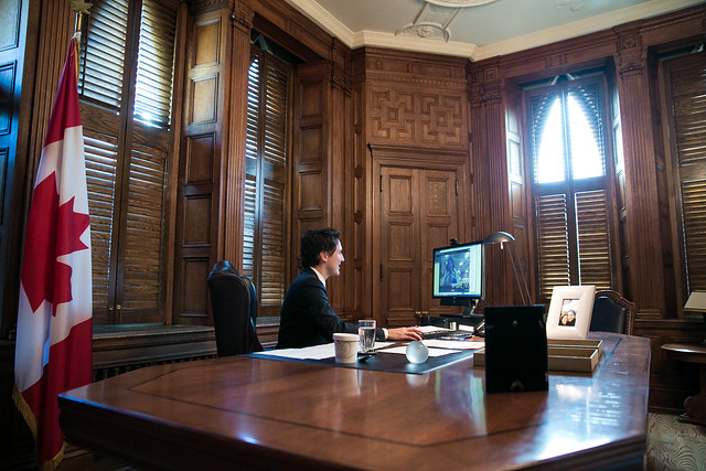 Prime Minister Trudeau takes part in a Google Hangout with students. November 4, 2015.