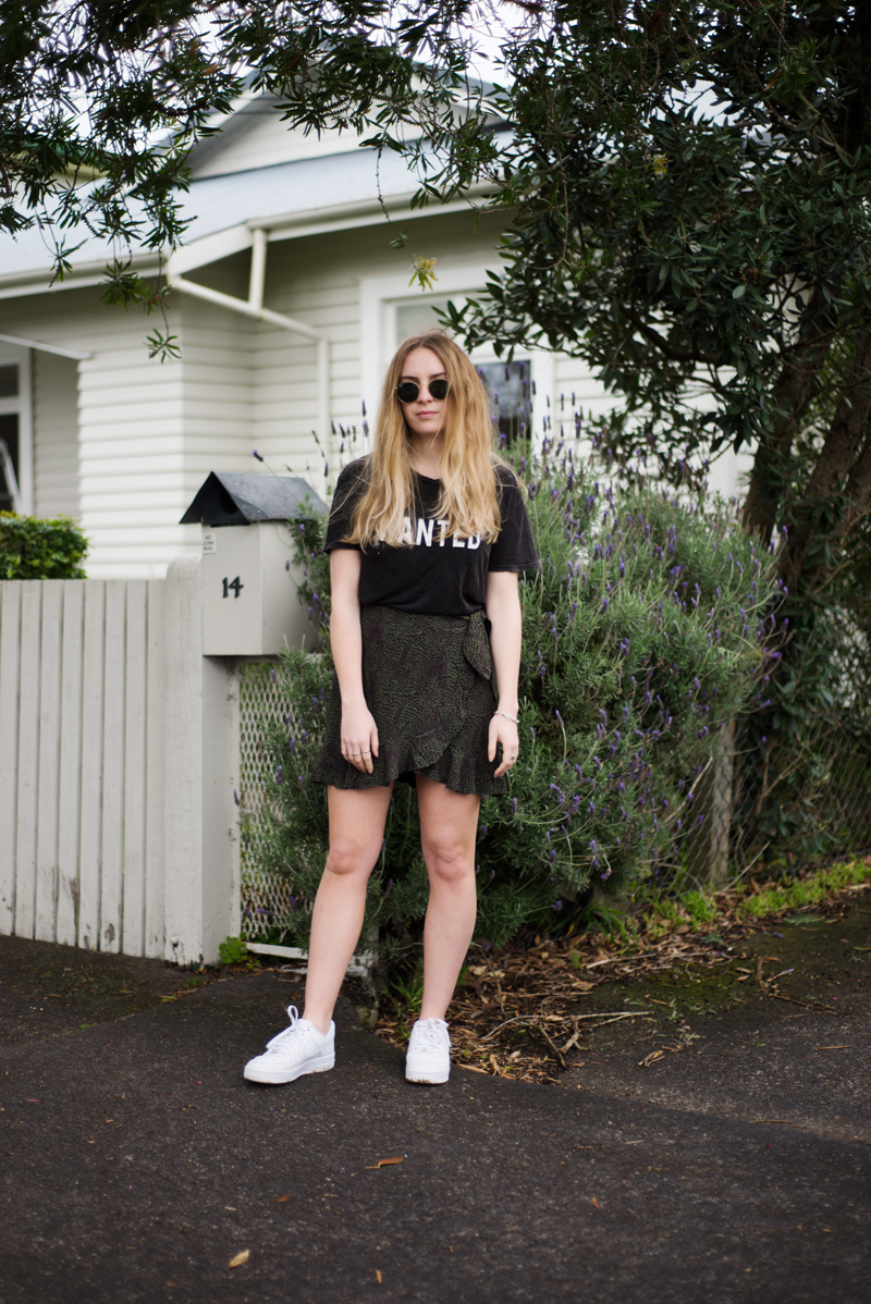 Wanted | StolenInspiration.com | Kendra Alexandra | NZ Fashion Blogger | Brandy Melville Wanted Tee, Ruby Skirt, Nike Shoes