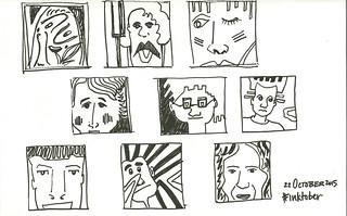 inktober bw faces