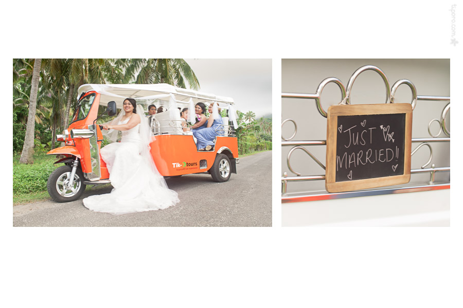 Just Married. e tuk tuk, Rarotonga, wedding cars