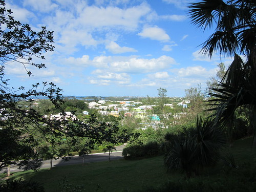 Coloured Bermuda houses from afar.