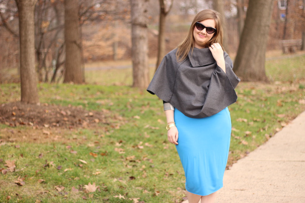 Dresslink poncho and pencil skirt (1)