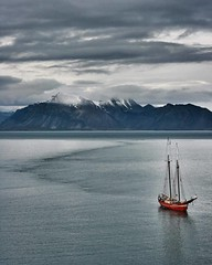 The Noorderlicht boat sailing in #spitzbergen #svalbard. The 'Noorderlicht' was originally built in 1910 in Flensburg, Germany as a three-masted schooner. For most of her existence she served as a light-vessel on the Baltic. In 1991 the present owners pur
