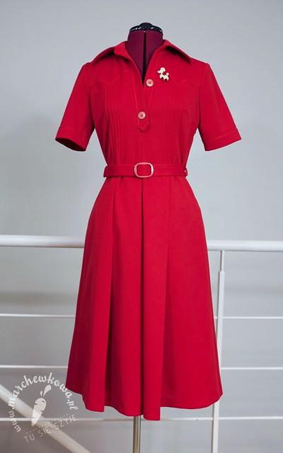 diolen, vintage, 1960s, sukienka, szmizjerka, lata '60., poliester, dzianina