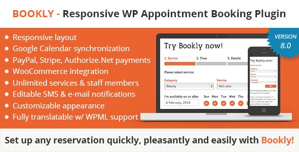 Codecanyon Bookly v8.2 - Book Appointments, Book Services, Book Anything