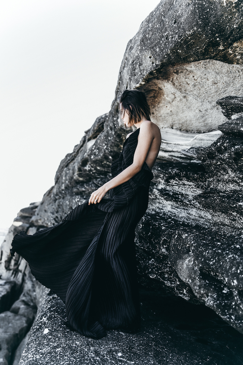 editorial new years eve all black outfit inspo Michael Lo Sordo gown beach modern legacy (1 of 10)