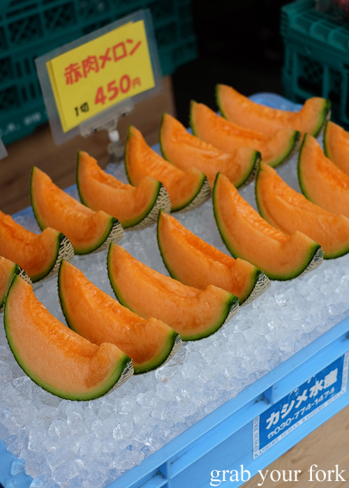 Fresh rockmelon wedges at Hakodate Morning Market, Japan
