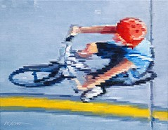 """Aerial View of Child Riding Bicycle"" now available at UGallery.com/Warren-Keating #figurativeart #aerial #photoimpressionism #artcollector #interiordesign"